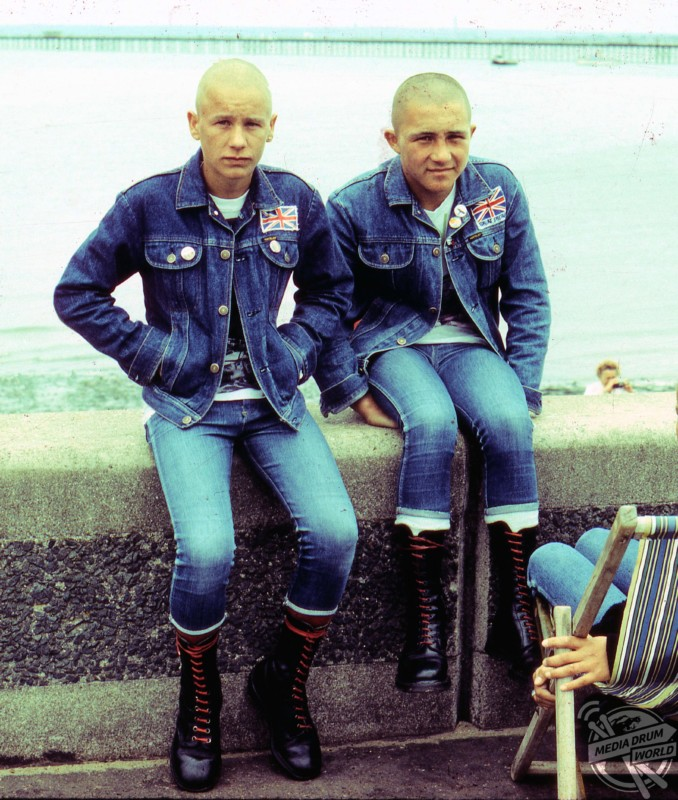 Skinhead friends dressed almost identically.