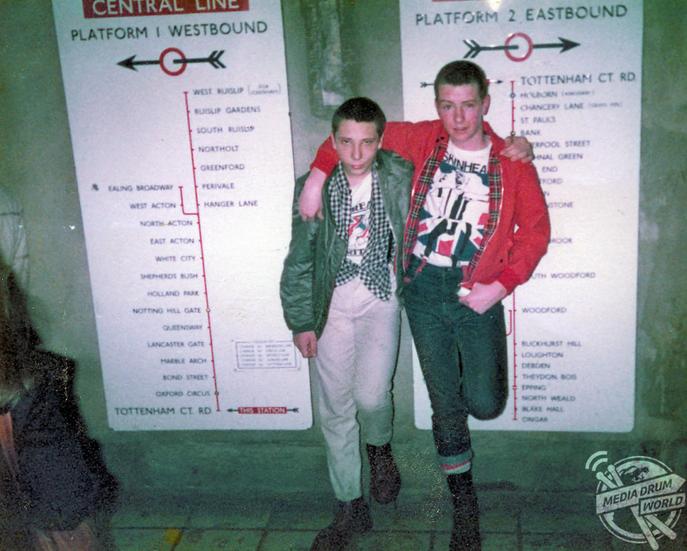 Skinhead friends in the London Underground.