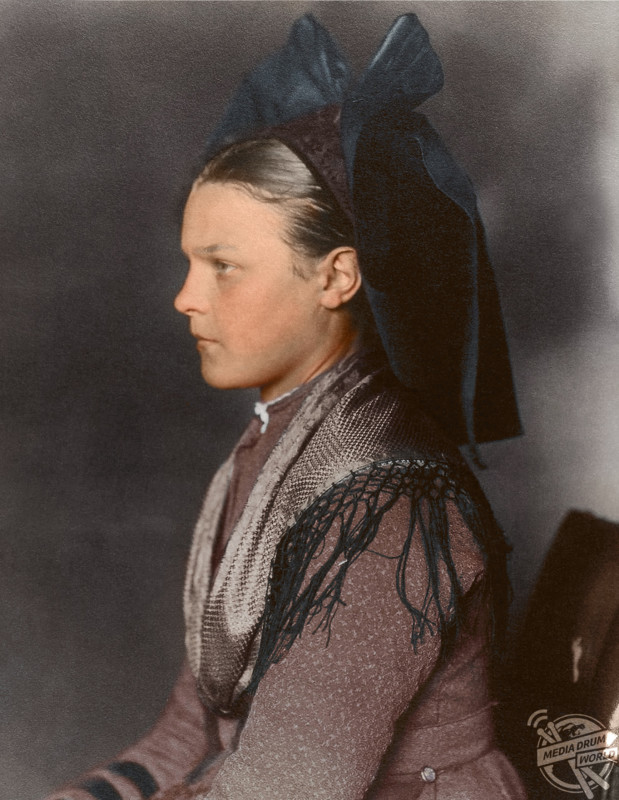 A girl from Alsace-Lorraine, 1906. Alsace-Lorraine was part of Germany at the time, but since WW1 has been part of France.