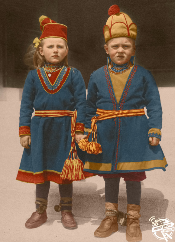 Two children (likely brother and sister) from Lapland.