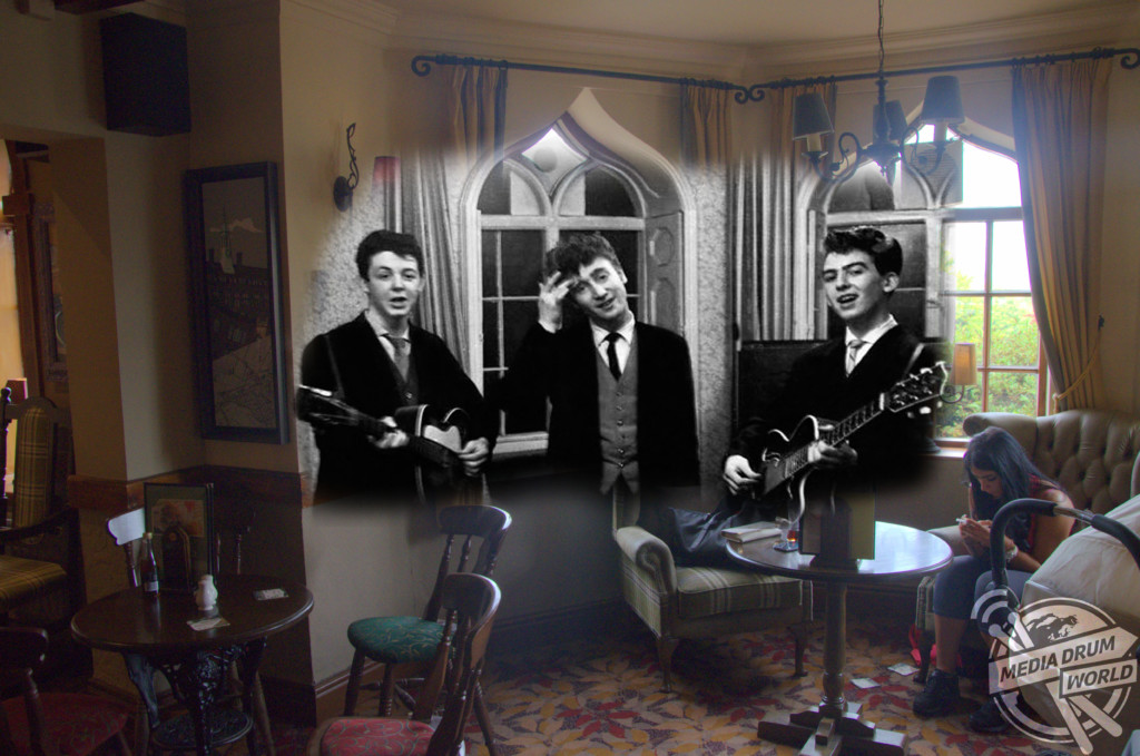 The Quarrymen, later The Beatles, playing George's brother's wedding, Childwall Abbey Hotel, Childwall 1950s.