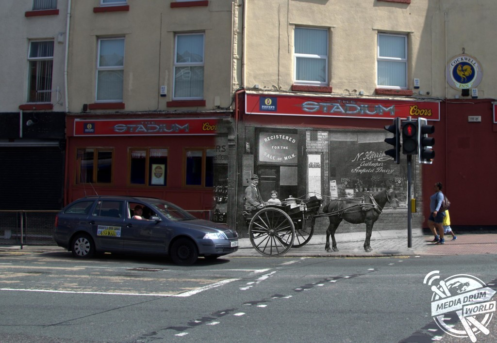 A 1913 horse and carriage waits at traffic lights on Townsend Lane, Anfield today. Keith Jones / mediadrumworld.com