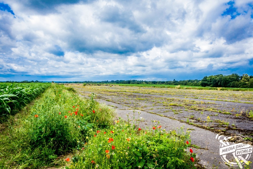 Runway at RAF Wisley, Surrey now surrounded by cornfields.