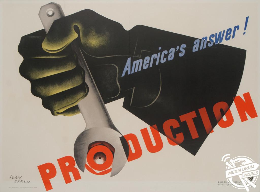 'America's Answer! Production' U.S poster, 1942. David Pollack / mediadrumworld.com