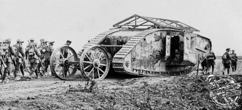 Mark I male tank with its distinctive wheeled steering tail and chicken-wire 'bomb roof'.  Anthony Tucker-Jones / mediadrumworld.com