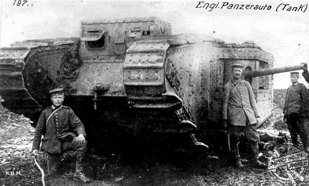 Mark II male with spudded tracks captured by Germans near Arras on 11 April 1917.  Anthony Tucker-Jones / mediadrumworld.com