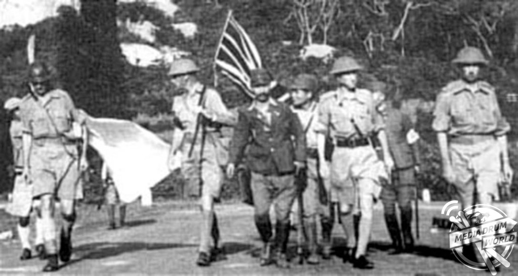Percival and colleagues on their way to surrender, 15 February 1942. Stephen Wynn / mediadrumworld.com