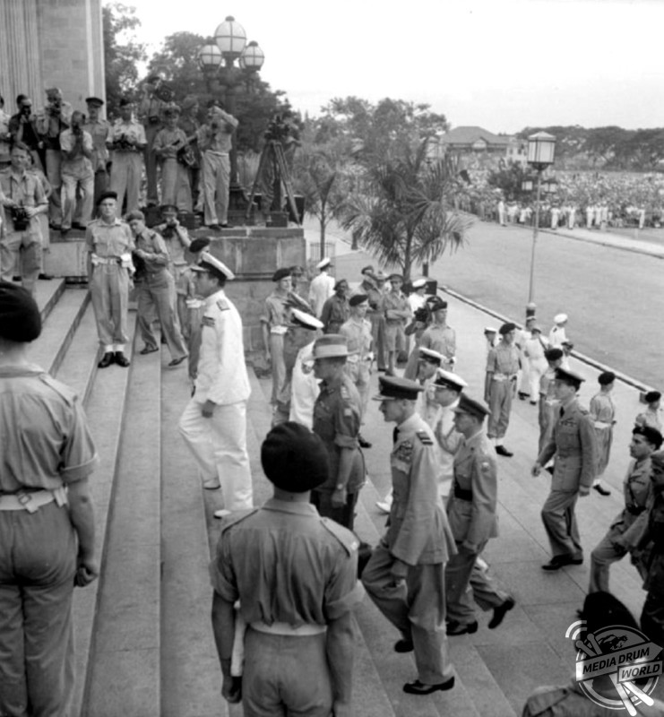Japanese surrender of Singapore ceremony, at the Old Supreme Court Building, 12 September 1945.  Stephen Wynn / mediadrumworld.com