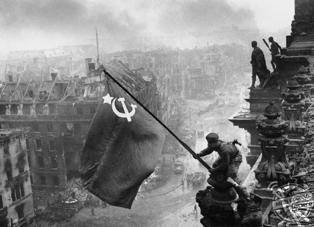 The Soviet flag over the Reichstag.  Vassili J. Subbotin / mediadrumworld.com