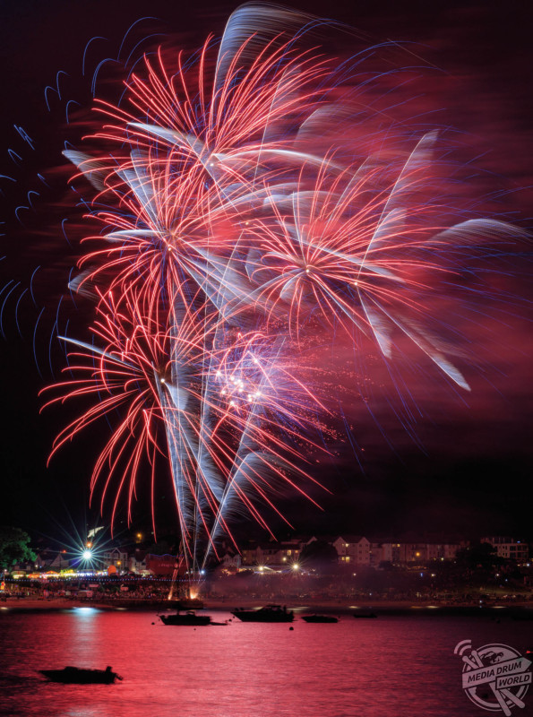 Fireworks over Swanage Bay during Carnival Week.  Mark Bauer / mediadrumworld.com