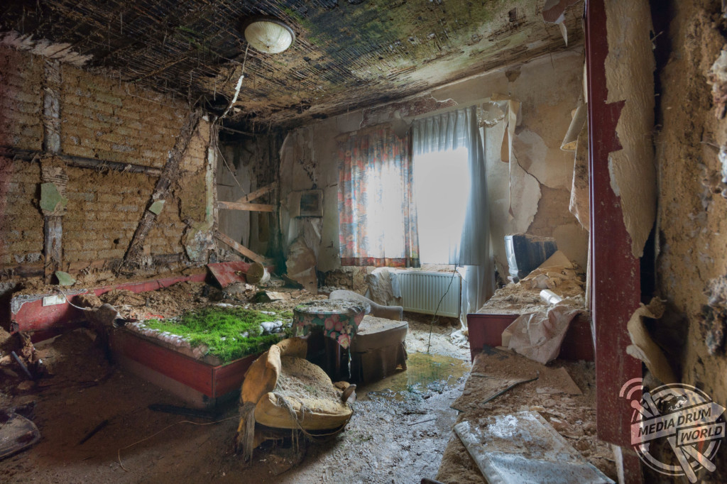 Decaying hotel in Germany. Plants growing out of the carpet, moss on the bed.  Martin ten Bouwhuijs / mediadrumworld.com